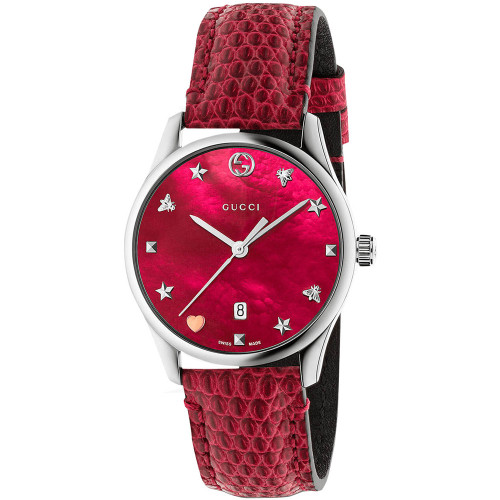 435988bd2 Gucci G-Timeless Ladies Sapphire Red Mother Of Pearl Dial Leather Strap  Watch YA126584