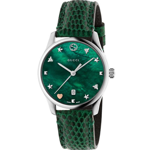 f89f5983c36 Gucci G-Timeless Ladies Sapphire Green Mother Of Pearl Dial Leather Strap  Watch YA126585