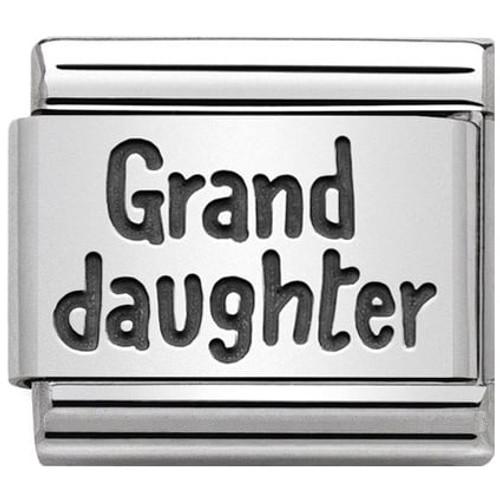 20504f6d6 Nomination Ladies Composable Classic Silver Grand Daughter Black Enamel  Charm 330102/43