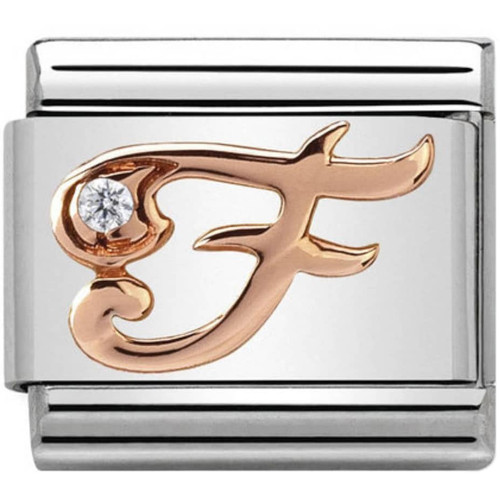 66865625d Nomination Ladies Composable Classic 9K Rose Gold White Synthetic Cubic  Zirconia Letter F Charm 430310/