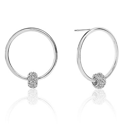 e6d65df21 Sif Jakobs Lariano Silver Cubic Zirconia Circle Stud Hoop Earrings SJ-E0303-CZ  ...