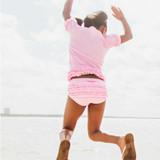 Pink Polka Dot Ruffled Rash Guard Bikini