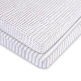 Waterproof Pack & Play Sheets - Taupe Stripe