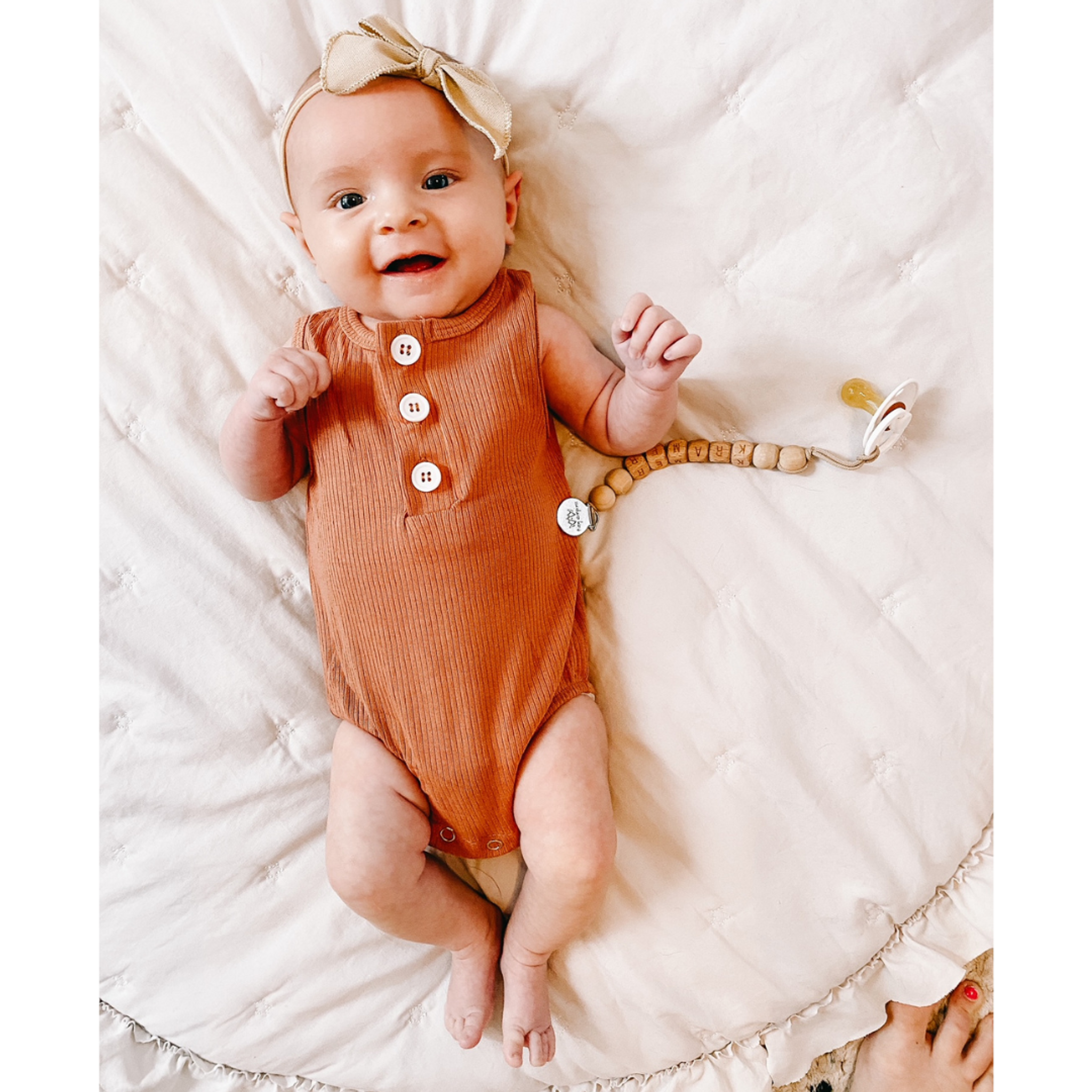 Ribbed Button Romper - Rust