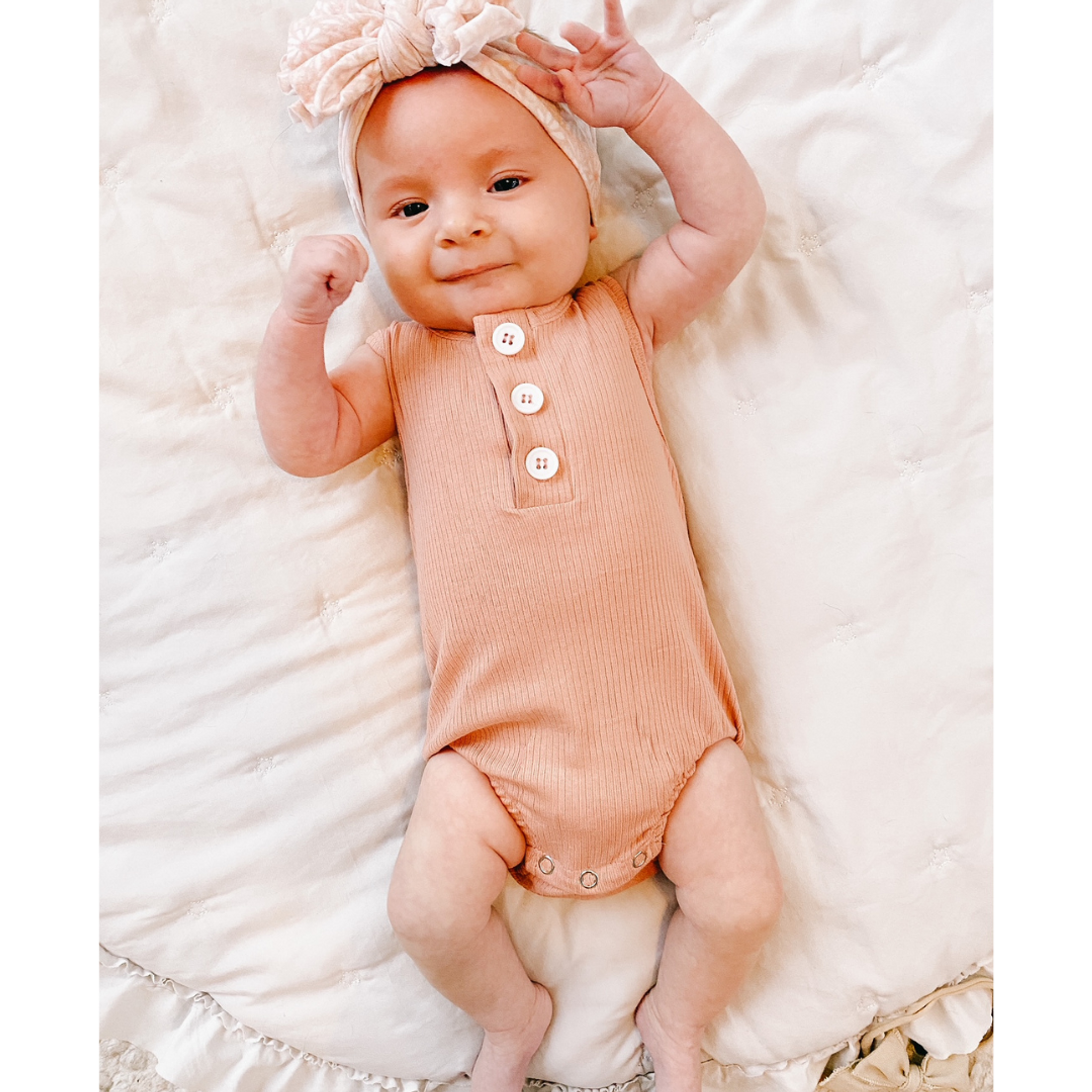 Ribbed Button Romper - Dusty Pink