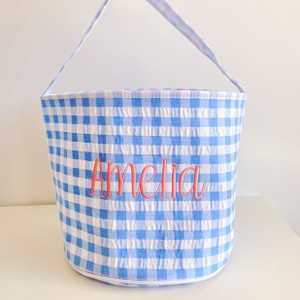 Personalized Gingham Easter Basket - Periwinkle