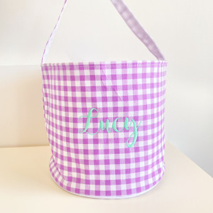Personalized Gingham Easter Basket - Purple