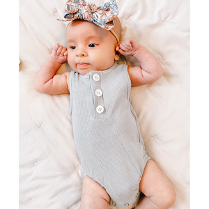 Ribbed Button Romper - Dusty Blue