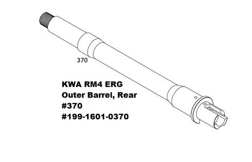 KWA VM4 2.5, ERG and RM4 AEG3 Series Rear Outer Barrel, #370 199-1601-0370