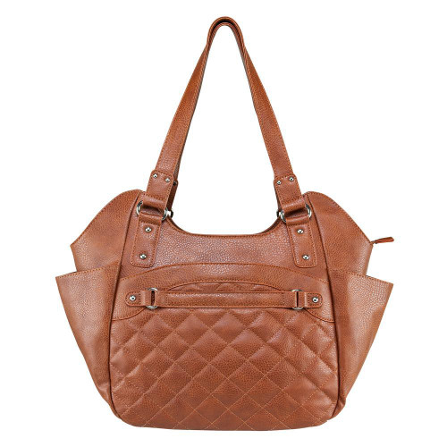 VISM Quilted Concealed Carry Hobo Handbag, Brown   BWL002