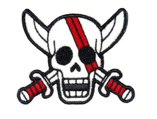 Emerson Pirate Skull Morale Patch, White/Red  AC-140I
