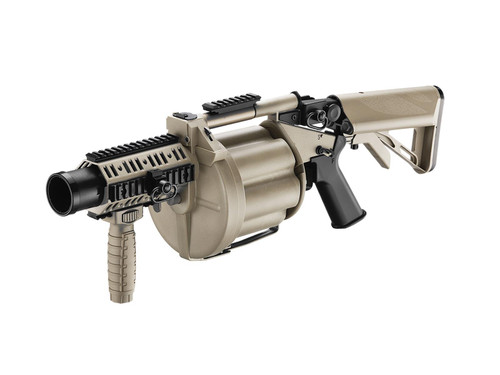 ICS 6 Round Revolving Multiple Grenade Launcher, Desert Tan, Gen.2  50266