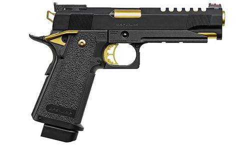 Tokyo Marui 5.1 Hi-Capa Gold Match Custom GBB Pistol, Black/Gold