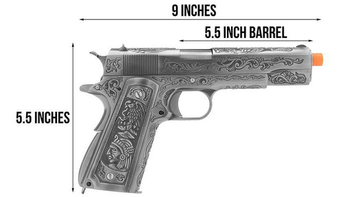 WE-Tech 1911 Indian/Floral Etchings Full Metal GBB Pistol