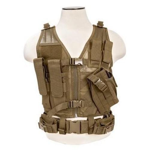 NcStar Tactical Crossdraw Vest, Tan, X-Small-Small  CTVC2916T
