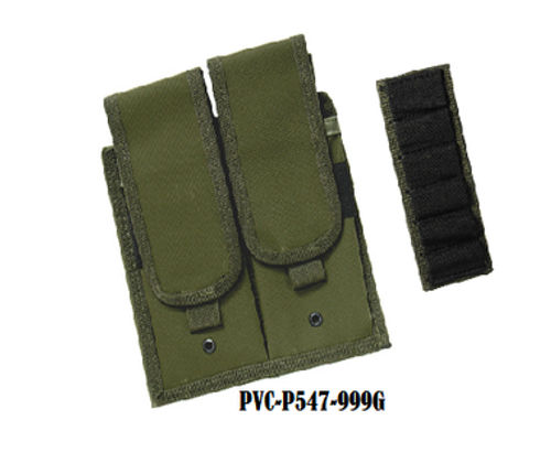 UTG Modular Double Mag Pouch and Velcro Attached Elastic Bullet/CO2 Cartridge Holder, OD  PVC-P547-999G