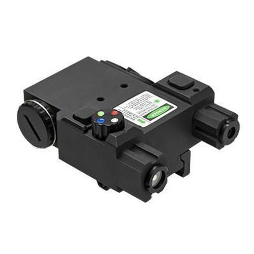 NcStar Green Laser & 4 Color NAV LED Designator Box w/ QR Mount, Black   VLG4NVQRB