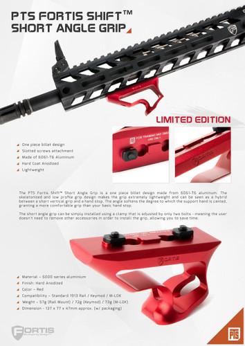 Airsoft PTS Fortis Shift Long Angle Grip for M-LOK Handguard M-LOK // BK