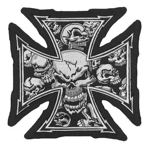 Gray Skull Cross Lg Lethal Threat Patch