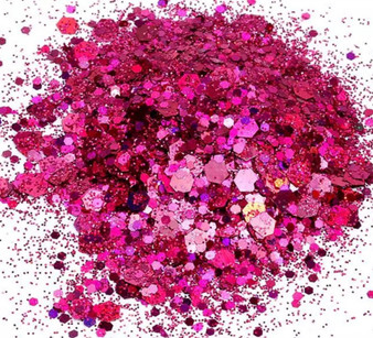 Chunky Holographic Glitter Mix  10g   jar - Rose