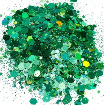 Chunky Holographic Glitter Mix  10g   jar - Emerald
