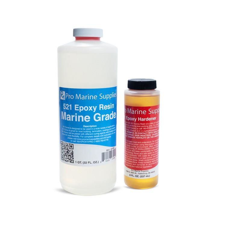 Bottle of ProMarine Supplies' marine epoxy resin and fast epoxy hardener.