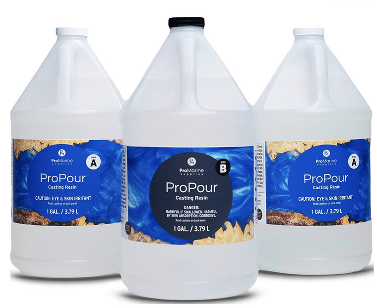 ProMarine Supplies' ProPour Casting Resin, parts A and B, in one gallon bottles.