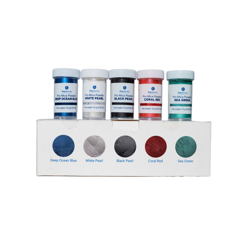 Five 10g bottles of ProMarine Supplies' Pro Mica Powder lined up on a product box showing off their color.