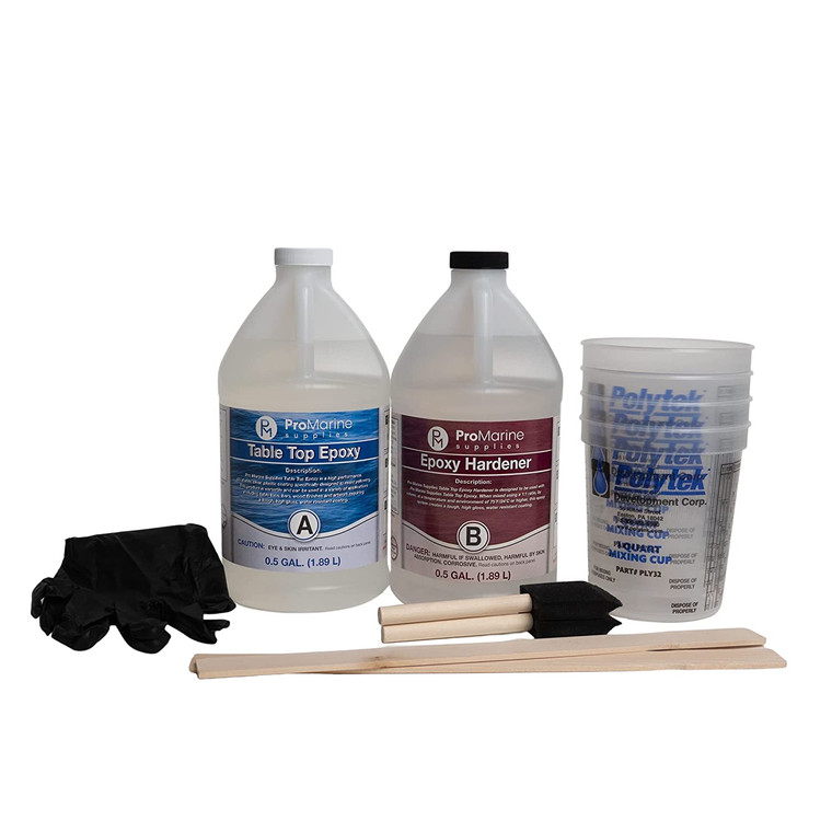 COMPLETE SET COVERED: Unsure how to prep for your epoxy resin mixtures? We've got it covered! This set comes with 4 measuring cups, 6 medium black nitrile gloves, 2 foam brushes, and 2 stir sticks so you can start right away. UV RESISTANT: All clear epoxy resins yellow over time. But ProMarine's Clear Table Top Epoxy has added UV resistance. This helps stall the yellowing process, making your projects look crystal clear longer. EXPECT AN EVEN SURFACE: No one likes imperfect surfaces when coating tabletops. Worry not! Our 2 part clear epoxy resin creates a tough, self-leveling coating that doesn't have craters, crawling, and fish eyes. FOOD SAFE: Finally built your dream kitchen, bar top, or Riverwood table? Then wine and dine with your friends and loved ones since our crystal clear epoxy resin coating is entirely food-safe when properly measured, mixed, poured, and cured. MULTIPURPOSE: Wondering where else you can use our clear epoxy resin? Use it for wood finishes, river tables, resin art, coasters, canvases, see-through encapsulations, and more!