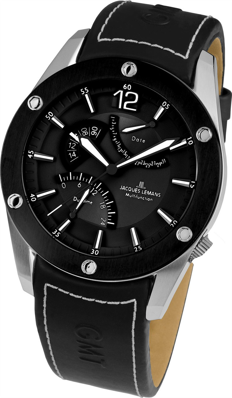 9974a45f999496 Jacques Lemans Liverpool GMT 1-1739A Gents Genuine Leather ...