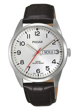 Pulsar Men's Analog Quartz Watch with Day / Date and Leather Strap White Dial - PJ6065X1 - Amber Trading