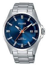 Pulsar Men's Analog Quartz Watch with Date and Stainless Steel Band Blue Dial - PS9505X1 - Amber Trading