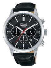 Pulsar Men's Analog Quartz Chronograph Watch with Date and Leather Strap Black Dial - PT3751X1 - Amber Trading
