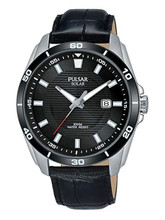 Pulsar Men's Analog Solar Watch with Date and Leather Strap Black Dial - PX3157X1 - Amber Trading