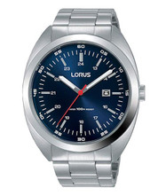 Lorus Men's Analog Quartz Watch with Date Stainless Steel Band Blue Dial - RH951KX9