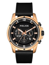 Police SHANDON Men's Quartz Watch Date Black Leather Strap Black Dial - 15525JSR/02