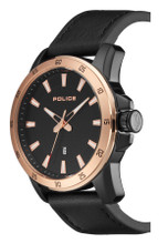 Police TROMSO Men's Quartz Watch Date Black Leather Strap Black Dial - 15526JSBR/02