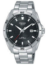 Pulsar Men's Analog Solar Watch with Date, Stainless Steel Band, Black Dial - PX3151X1