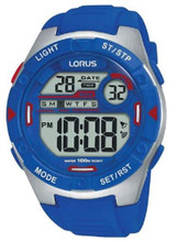 Lorus Men's LCD Digital Watch with Blue Silicon Strap R2301NX9