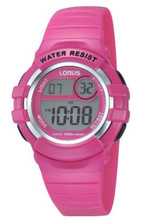 Lorus Girls LCD Digital Watch with Pink PU Strap R2387HX9