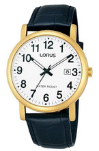 Lorus Men's Analogue Classic Watch with Date Display, Black Leather Strap & White Dial RG836CX9
