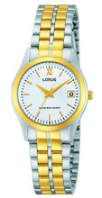Lorus Women's Analogue Watch with Date Display, Two-tone Stainless Steel Bracelet & White Dial RH770AX9