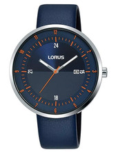 Lorus Men's Analogue Watch with Date Display, Blue Leather Strap & Blue Sunray Dial RH963LX9