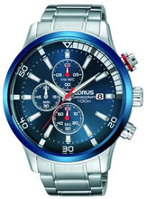 Lorus Men's Chronograph Watch with Date Display, Stainless Steel Bracelet & Blue Sunray Dial RM359CX9