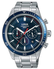 Lorus Men's Chronograph Watch with Date Display, Stainless Steel Bracelet & Blue Sunray Dial RT303HX9