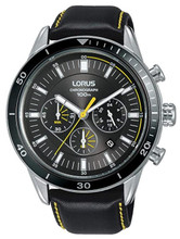 Lorus Men's Chronograph Watch with Date Display, Black Leather Strap & Dark Grey Sunray Dial RT311HX9