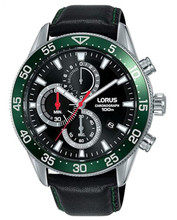 Lorus Men's Chronograph Quartz Watch with Black Leather Strap RM347FX9