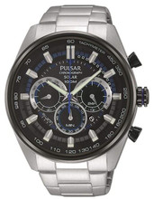 Pulsar Men's Solar Chronograph Watch with Date and Stainless Steel Bracelet PX5019X1