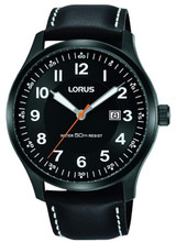 Lorus Men's Analog Watch with Date and Black Leather Strap RH941HX9