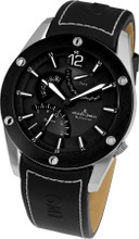 Jacques Lemans Liverpool GMT 1-1739A Gents Genuine Leather Strap Multifunction Quartz Analog Watch